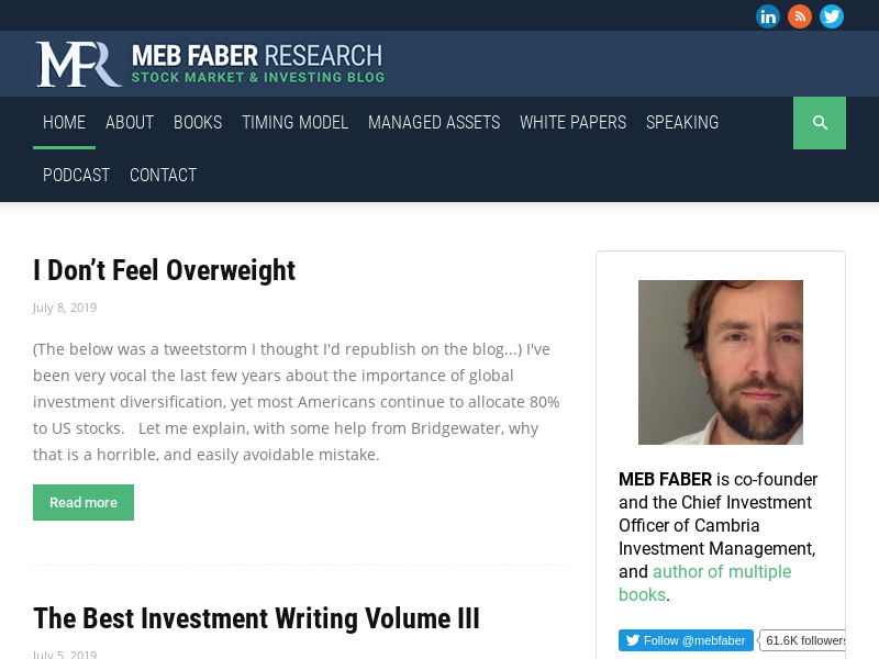 Meb Faber Research - Stock Market and Investing Blog